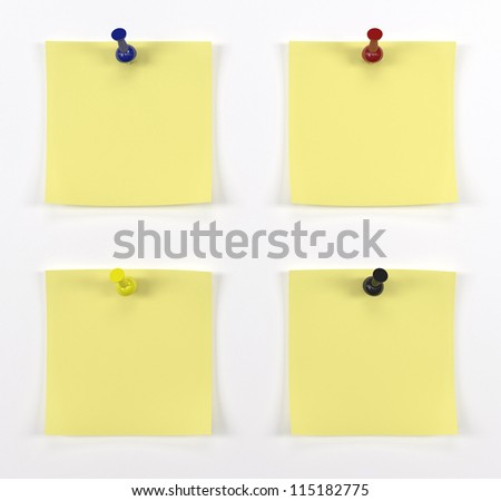 Four post it with red push pins - stock photo