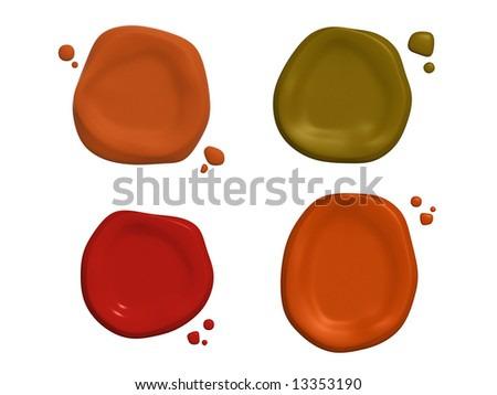 Four post stamps of different colors. Object over white - stock photo