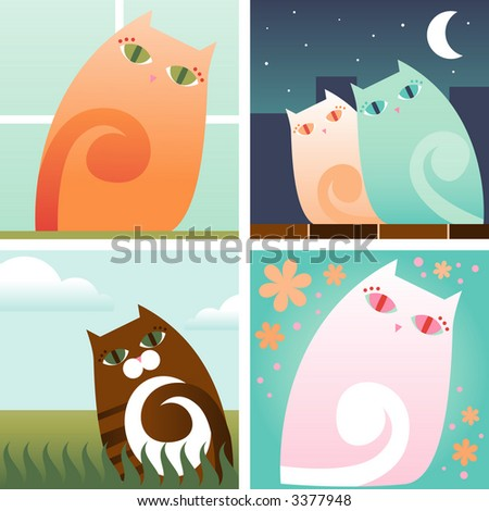 Four pretty kitty scenes: Orange kitty in the window, Kitty couple in the city at night, Striped brown kitty outside and Pink kitty surrounded by flowers - stock photo