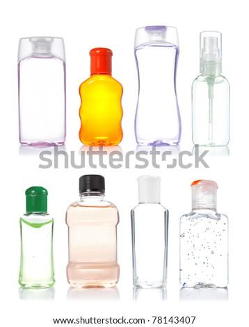 four product bottle isolated on white background - stock photo