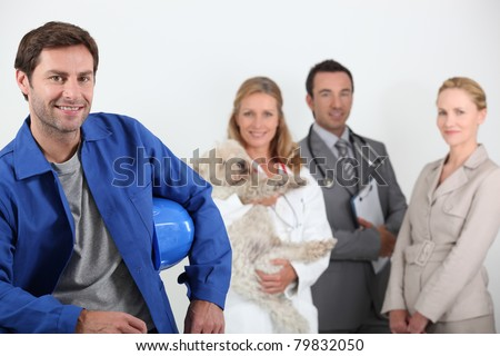 Four professionals from different domains - stock photo