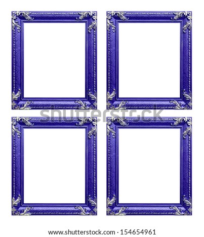 Four purple  picture frames - stock photo