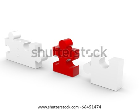 Four puzzle pieces with a redone in the middle - stock photo
