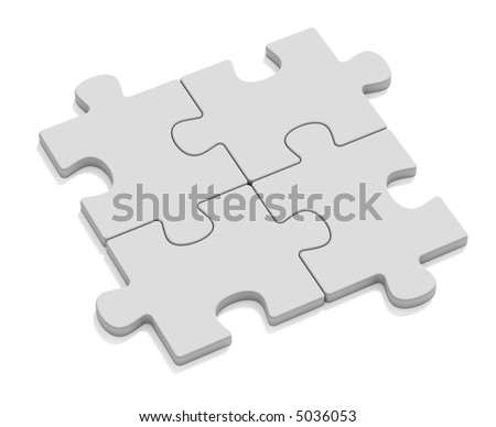 Four puzzles - stock photo