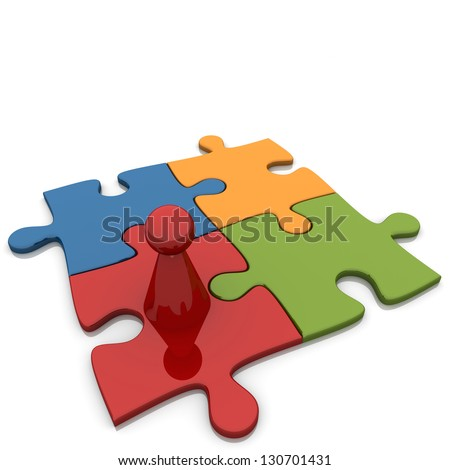 Four Puzzles With Red Figure. - stock photo