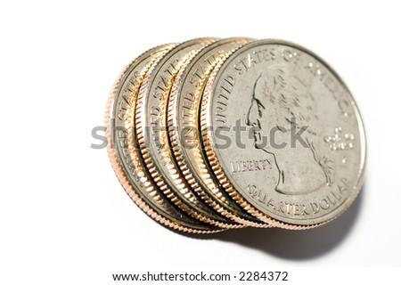 Four quarters on white background - stock photo