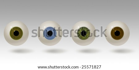 Four realistic raster illustrations of the human eye. Eyeball colors include hazel, blue, green and brown. The eyes are lit from above and cast a shadow. Eye balls are easy to isolate. - stock photo