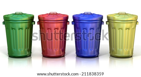 Four recycle bins for recycling paper, metal, glass and plastic. Isolated on white background.