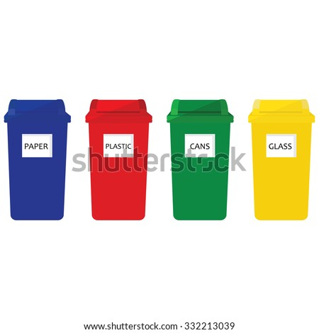 Four recycle bins raster icon red, blue, green and yellow. Recycle bins for paper, plastic, cans and glass - stock photo