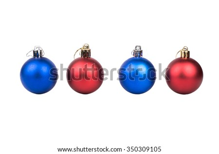 Four red and blue Christmas ball on a white background