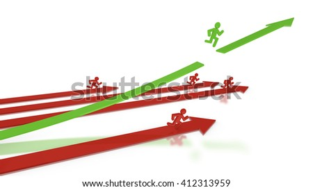 Four red and one green arrow with runners on it, the leading green one is the winner of the performance racejumping over a gap 3D illustration