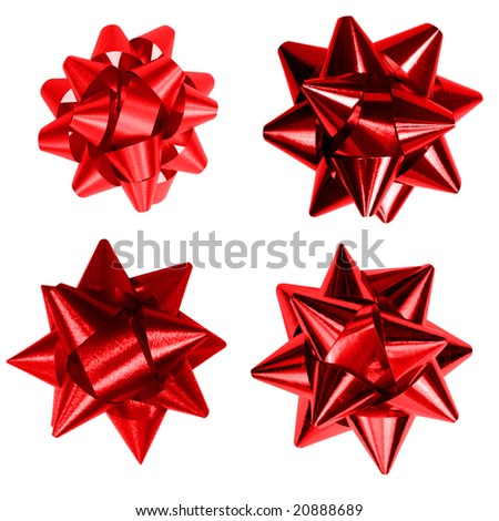 Four red bow isolated on white background - stock photo