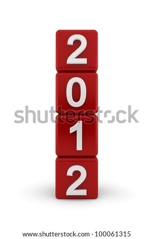 Four red cubes placed on end to form a tower with white embossed bevelled numerals for 2012 - stock photo