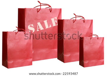 Four red paper bags with special offer prizes over white background - stock photo