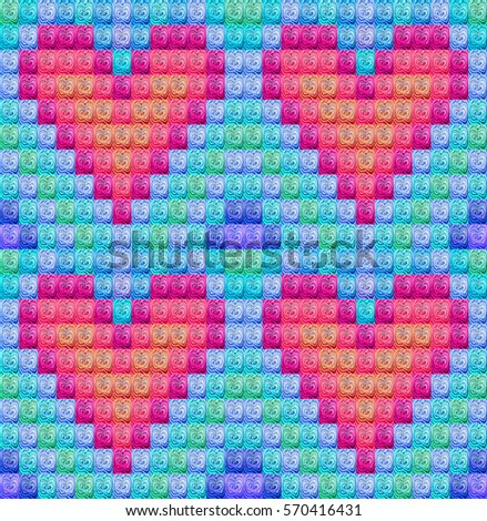 Four red pink lilian pixel hearts against blue green background. Valentines Day holiday background. Valentines card made with colored squares with wooden heart inside every square