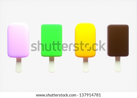 Four refreshing and colorful ice creams against a light background - stock photo