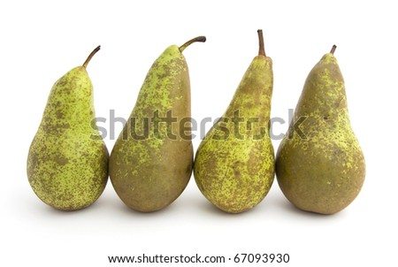four ripe pear isolated on white background