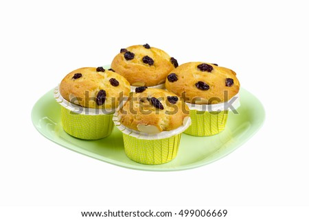 four risin muffin cake on isolated background