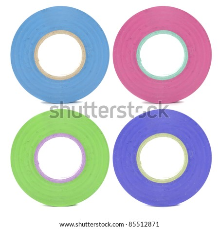 Four Rolls of Insulating (Electrical) Tape Isolated on White Background - stock photo