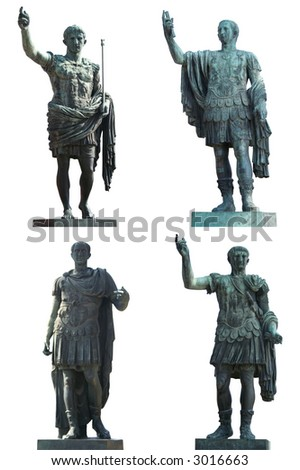 Four Roman Emperors statues (Augustus Caesar, Julius Caesar,Nerva and Trajan). Bronce, isolated on white. Rome, Italy. - stock photo
