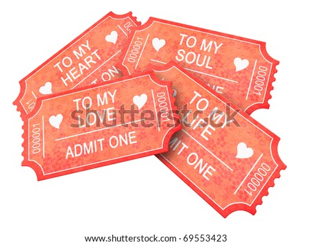 Four Romantic tickets isolated on white - stock photo