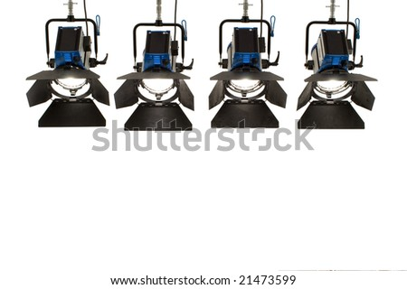 Four  searchlights on a white background. - stock photo