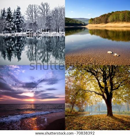 Four season collage - stock photo