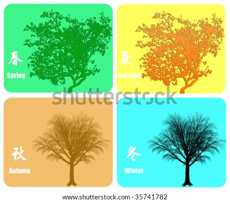 Four season colorful background