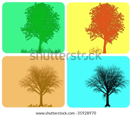 Four season colorful background with different actions