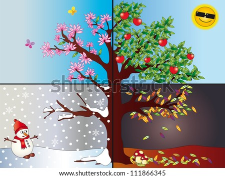 four seasons - stock photo