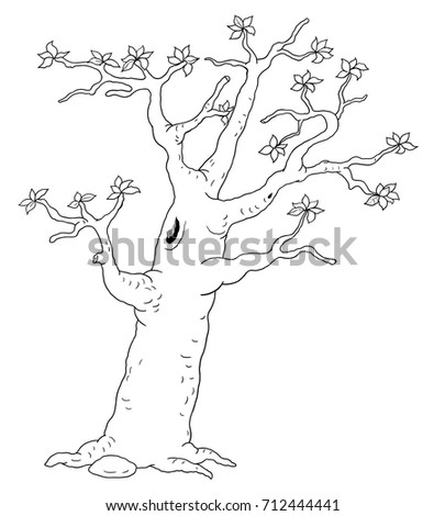 A Spring Tree Coloring Page Book Illustration For Children