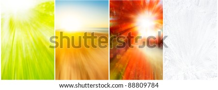 Four seasons backgrounds of blurred spring growth,beach, vivid foliage and ice crystals - stock photo