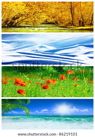 Four seasons collage, panoramic images of beautiful natural landscapes at different time of the year, autumn, winter, sprig and summer weather, planet earth life cycle concept - stock photo