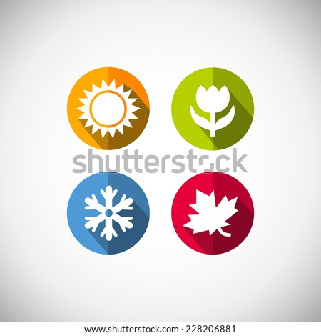 Four seasons icon symbol  illustration. Weather.   - stock photo
