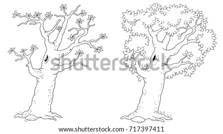 Spring And Summer Illustration For Children Coloring Book Page