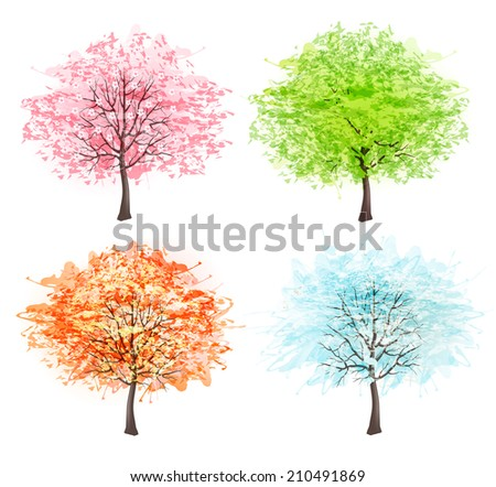 Four seasons - spring, summer, autumn, winter. Art tree beautiful for your design.  - stock photo