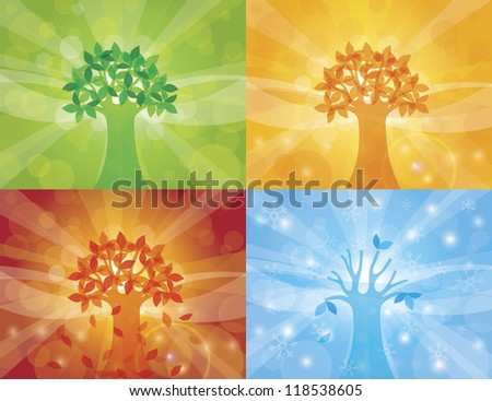 Four Seasons Spring Summer Fall Winter Trees with Sun Rays Background Raster Vector Illustration - stock photo