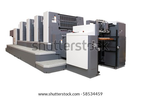 four-section offset printed machine. Isolated over white with clipping path - stock photo