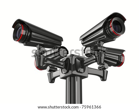Four security camera on white background. Isolated 3D image - stock photo