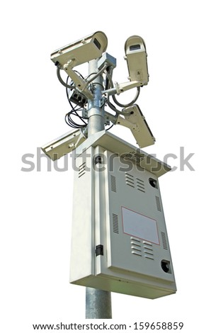 Four security cameras and control box isolated on white background  - stock photo