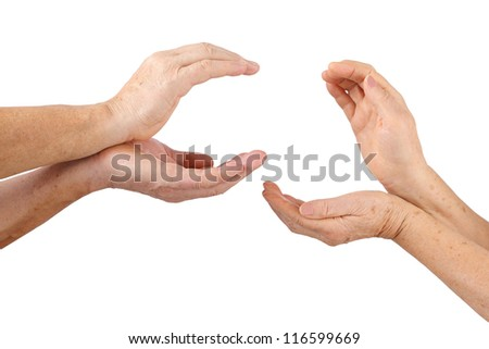 four senior hands man and woman shows hold offer gesture, isolated