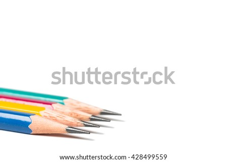 four sharpen pencils isolated on white background. - stock photo