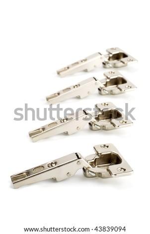 four shiny hinge on white background - stock photo