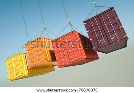 Four shipping containers during transport. 3D rendered image. - stock photo