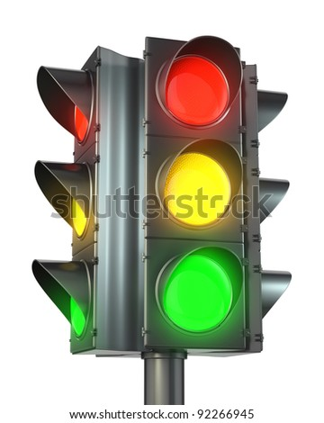 Four sided traffic light with red, yellow and green lights isolated on white background - stock photo
