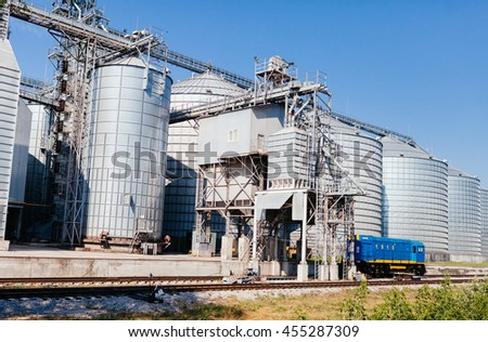 four silver silos - stock photo