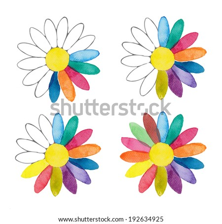 Four simple daisy shaped rainbow colored watercolor flowers isolated on white background - stock photo