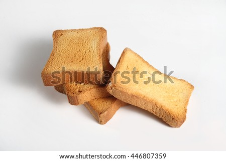 four slices toast viewed from above on a white background