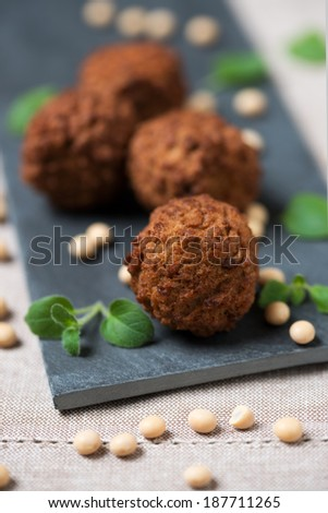 four small soy meat dumplings - stock photo