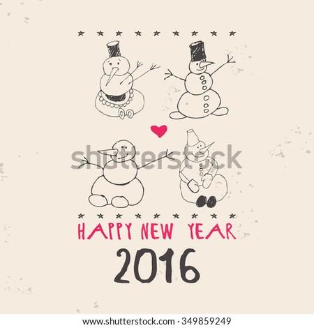 Four snowman. Vintage Christmas card. Raster version - stock photo